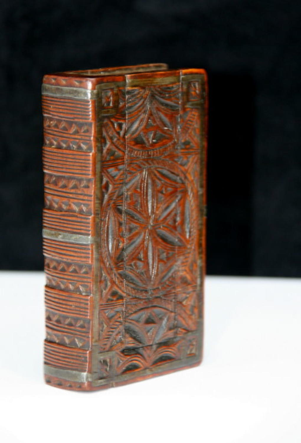 18th chip carved book box snuff box with pewter inlay.