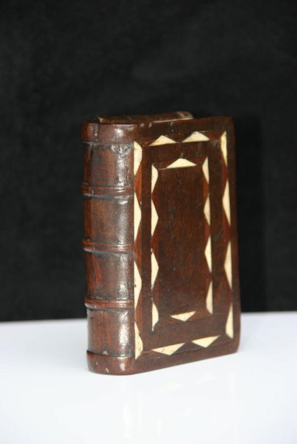 Treen and bone inlay book box, snuff box 19th century