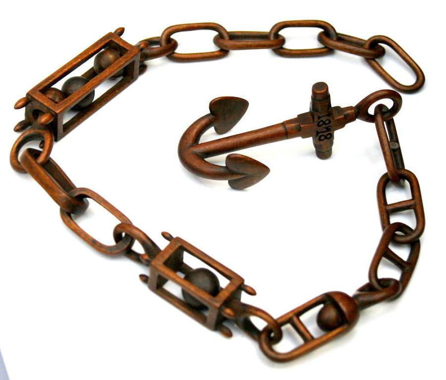 Treen  Sailor made Love token anchor & chain 1878
