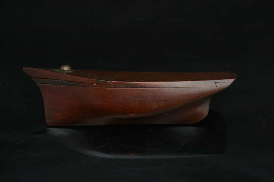 Treen Ship form Snuff Box 19th century