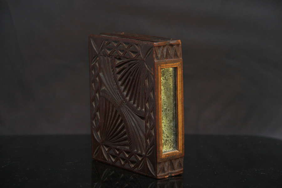 Double chip carved book box with mirrors c.1780
