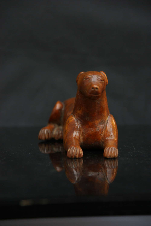 Treen Dog form Snuff Box 19th century