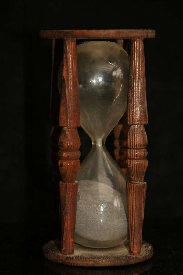 Treen 19Th Century Black sand Hourglass