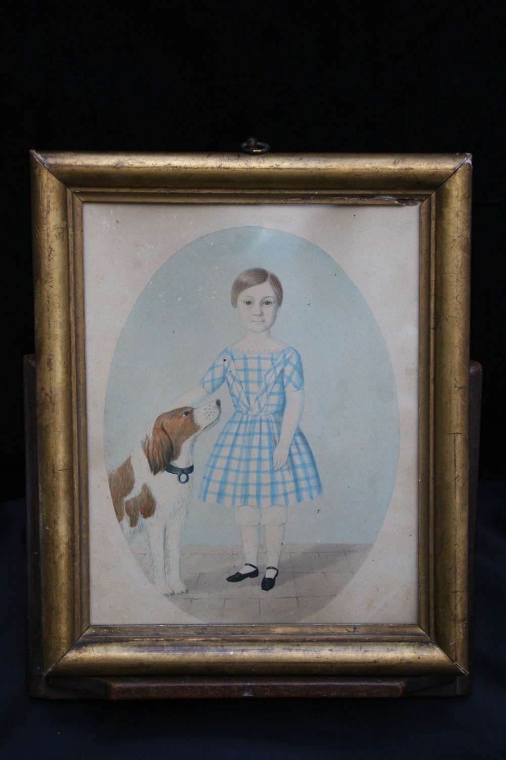 Naive Watercolour of a boy and his Dog 19th century