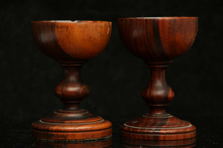 A near pair of Treen salts 19th century