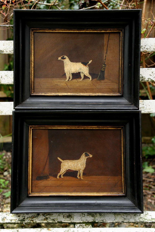 19th Pair naive of Dog Portraits