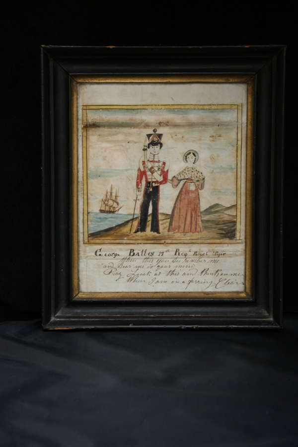 English Folk art 1843 Naive Watercolour