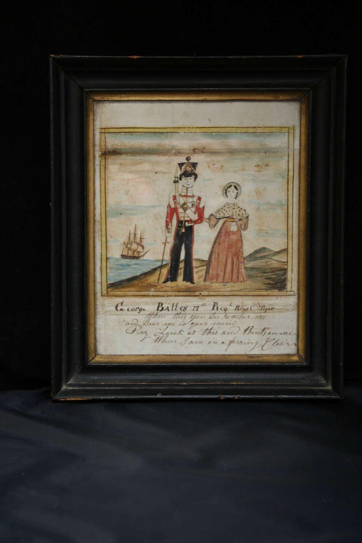English Folk Art 1843 Naive Watercolour