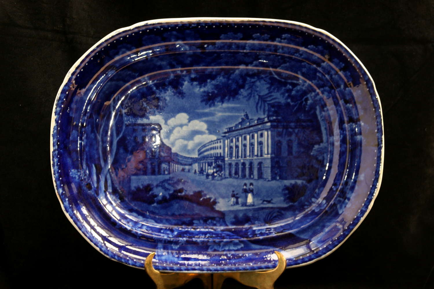 Deep Blue and White Pottery Meat Dish 19th century