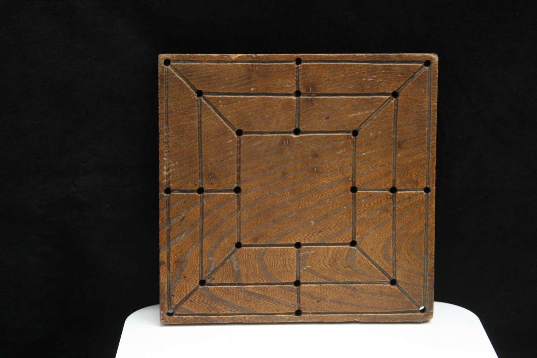 Treen Nine Men Morris Game Board Victorian