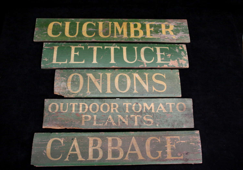 5 x Garden Nursery Vegetable Plant Signs 20th century