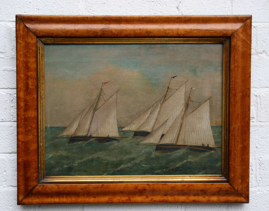 Naive Sailing racing painting late 19th century