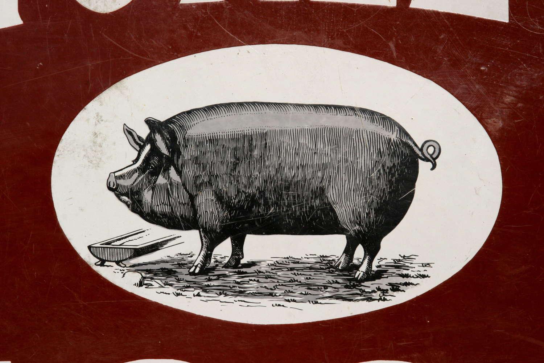 Thorley's Advertising Pig Food Enamel Sign 19th century