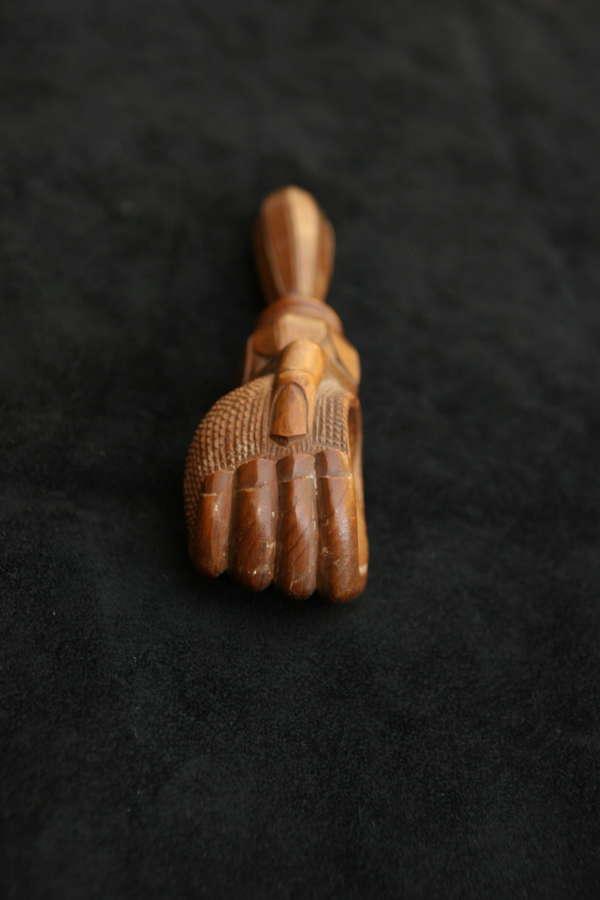 Treen late 19th century Hand holding Nut, Nutcracker