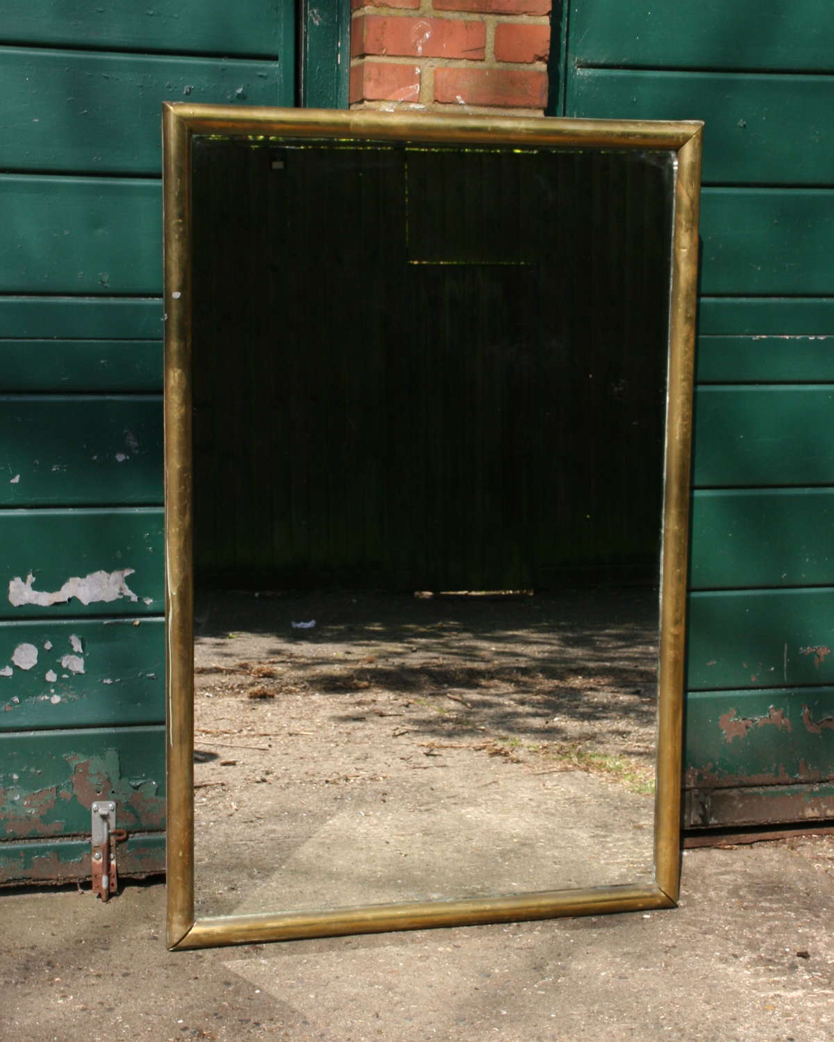 Brass Framed French Bistro Mirror 19th century