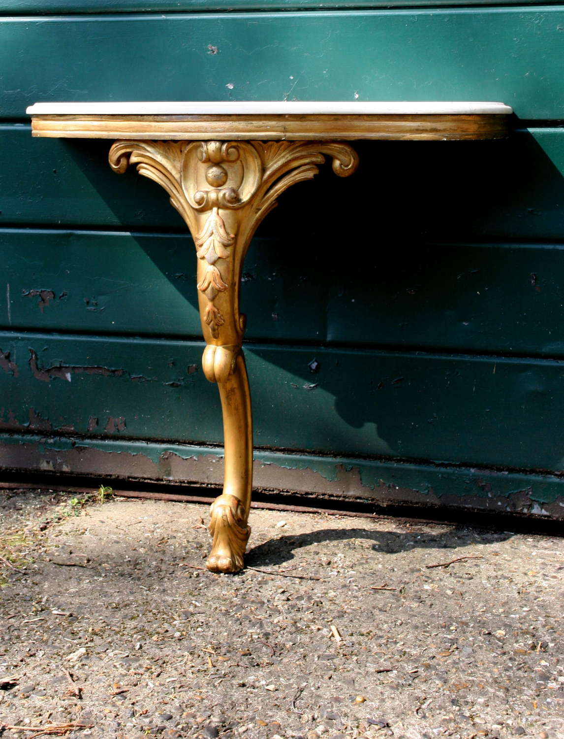 Diminutive  gilded Consul Table , marble top, 19th century