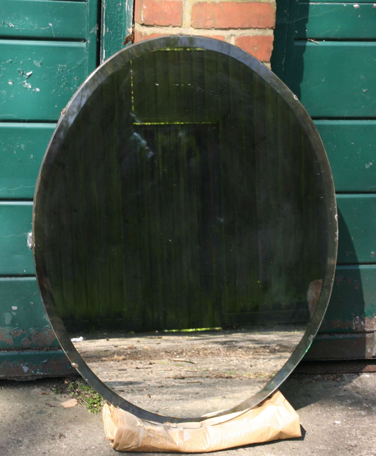 Frameless Oval Bevelled Mirror early 20th century