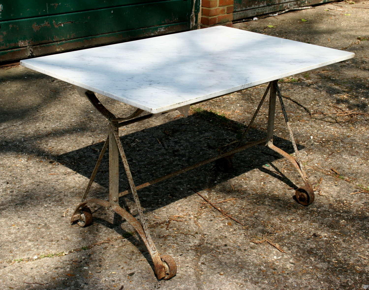 Marble topped Table on wheels