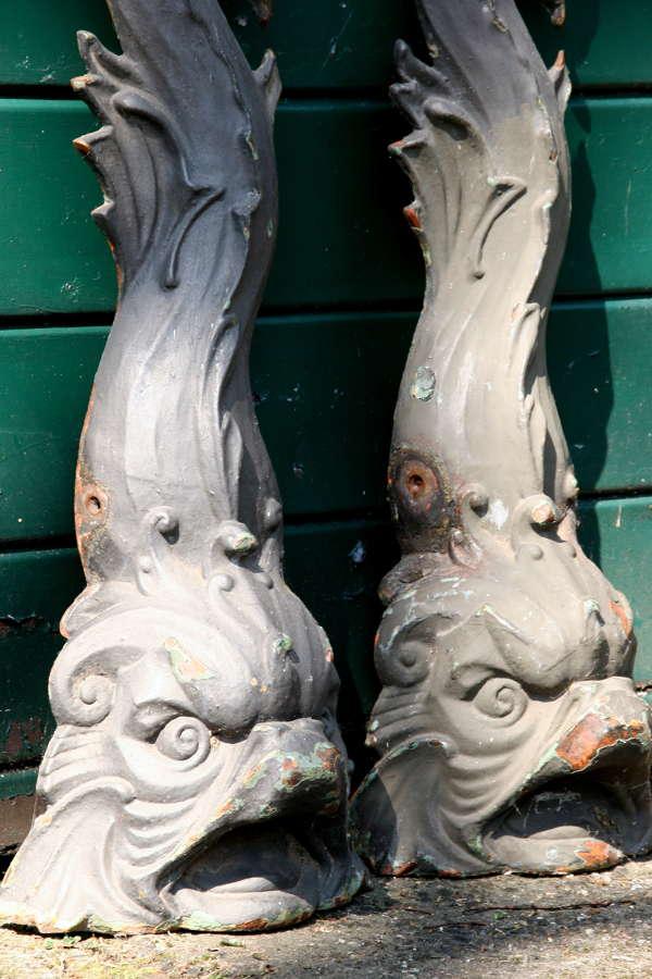 2 x Cast Iron Dolphins 19th century