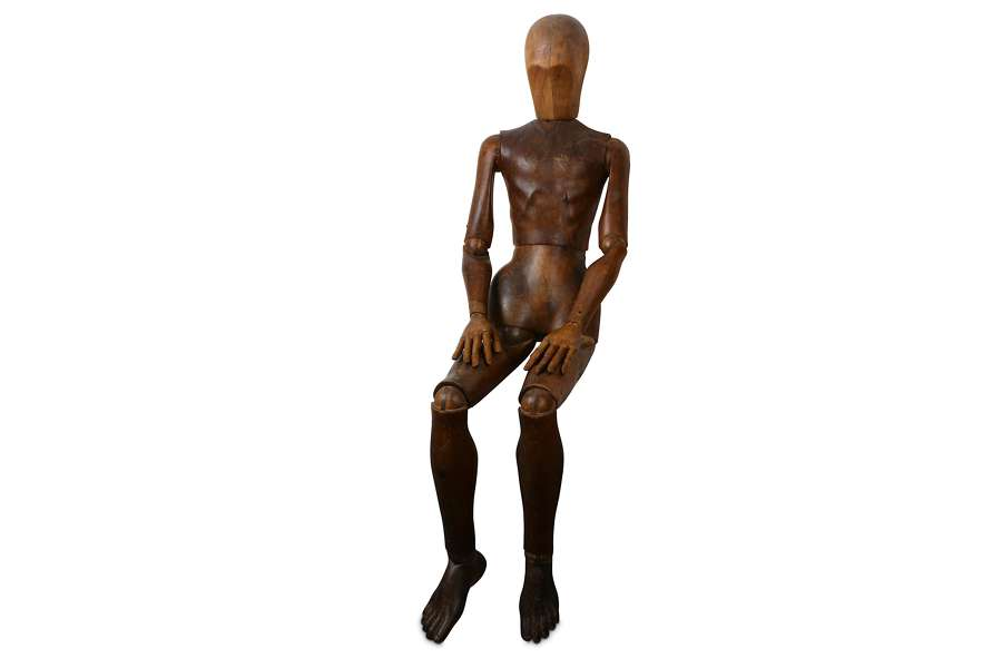 Life sized Articulated 19th century Pine Artists lay figure