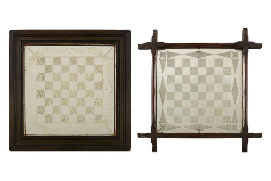 2x 19th century Mirrored Chess Boards