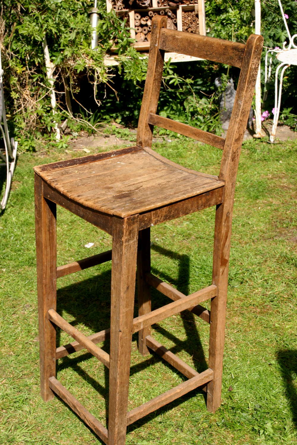 High Backed wooden Stool, c.1910
