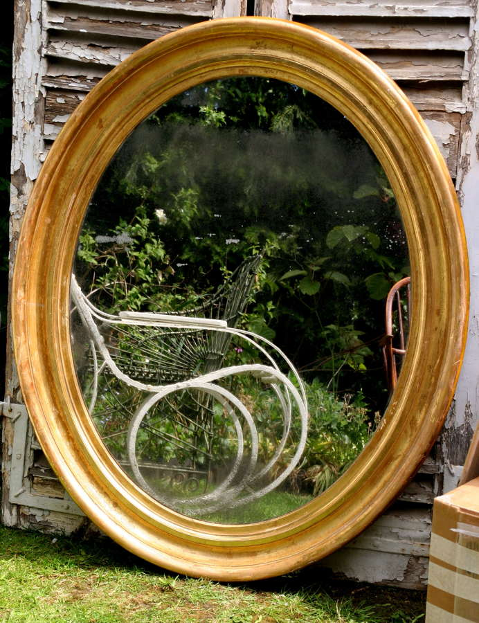 Wide Wooden Framed Oval Mirror 19th century