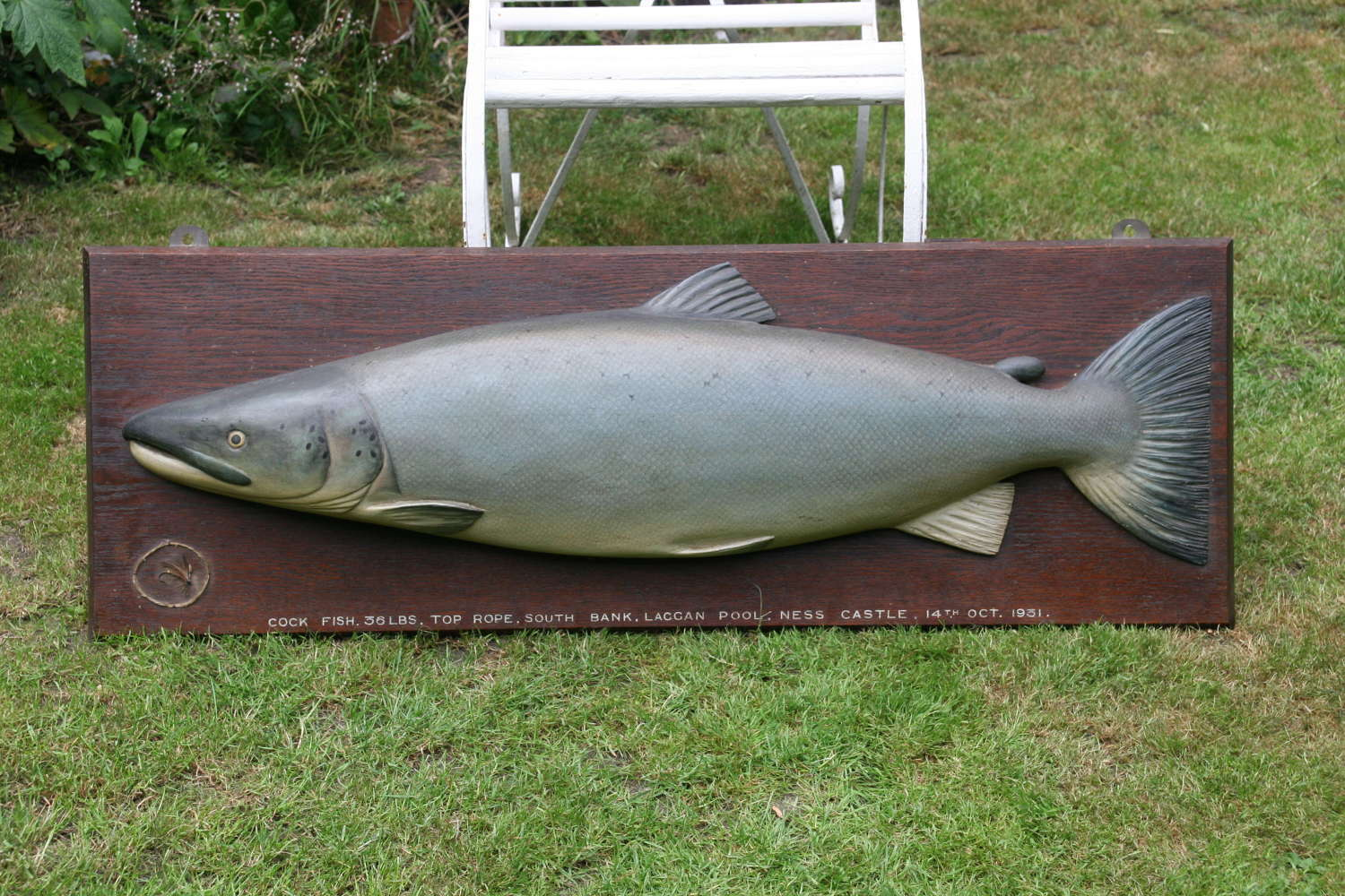 Trophy carved Wooden Salmon 1931.
