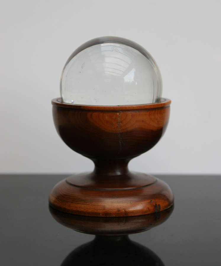 Treen Crystal Ball and  holder