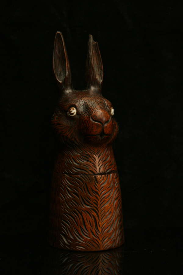 Treen Rabbit / Hare Storage Jar 19th century