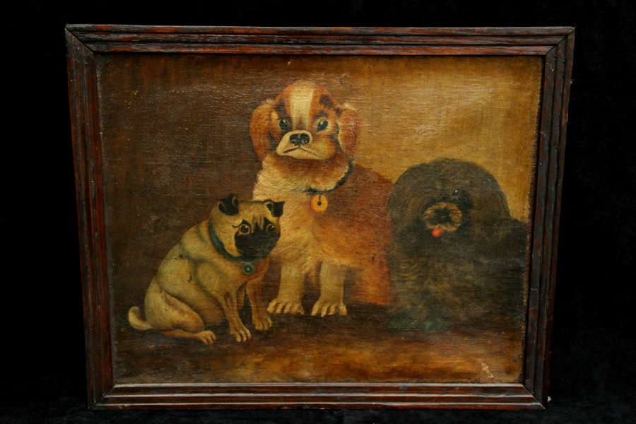 Folk Art Triple Dog Portrait 19th century