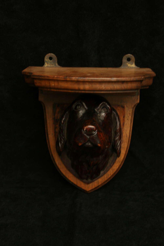 Carved Wooden Dog Head Bracket 19th century