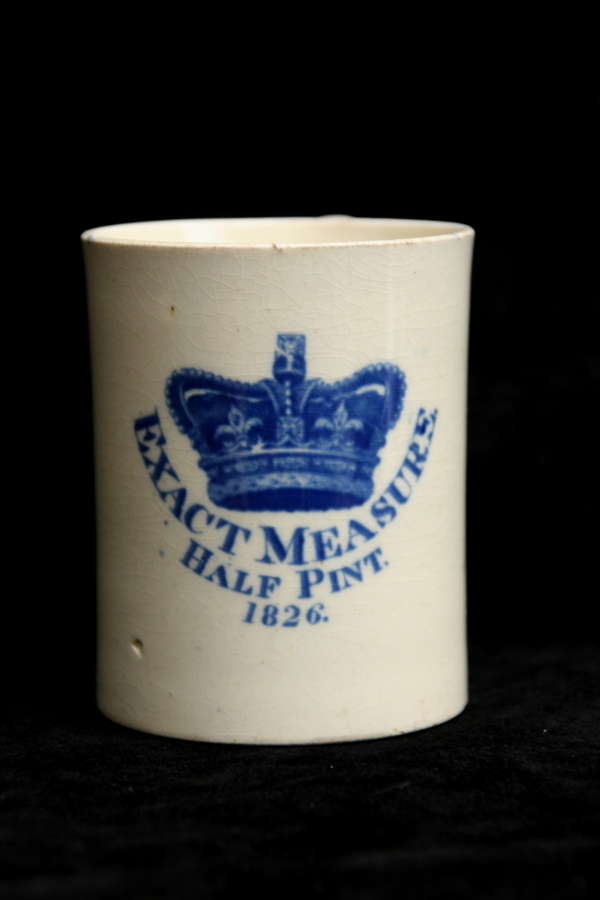Staffordshire Pearlware Half Pint Exact Measure 1826