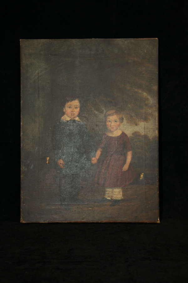 Brother & Sister Naive unframed Oil on canvas c.1830.