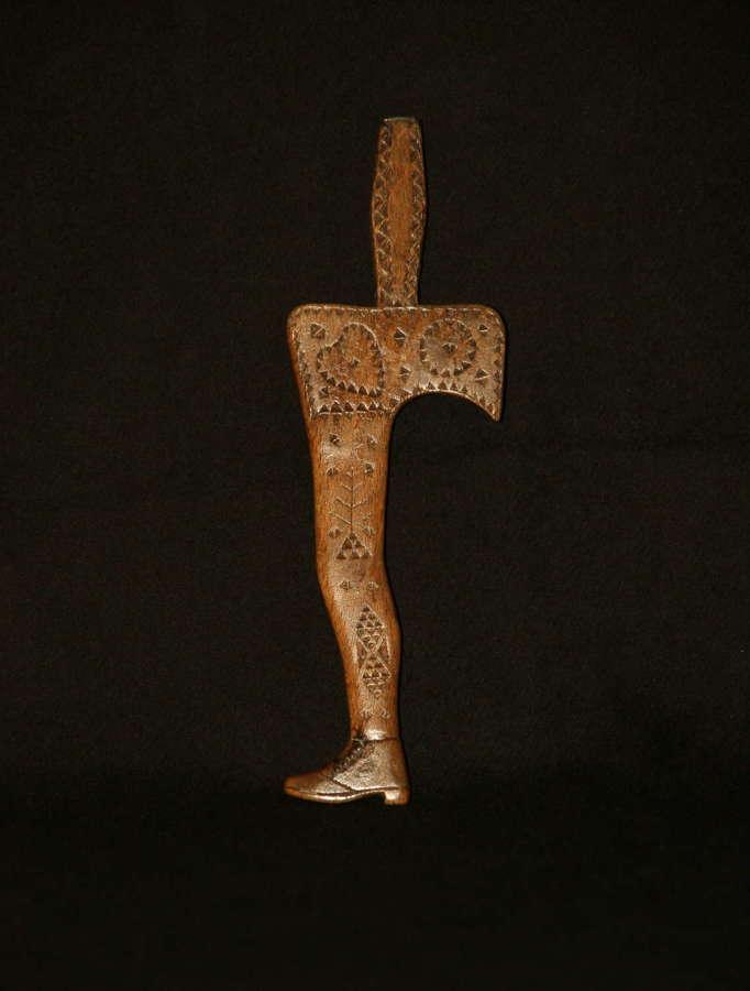 Treen folky Leg form Knitting Sheath early 19th centurty