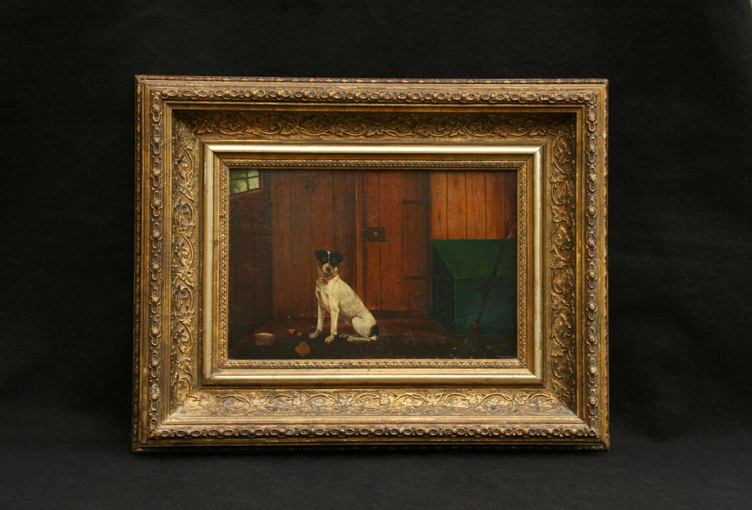 Dog oil painting  dated  1885