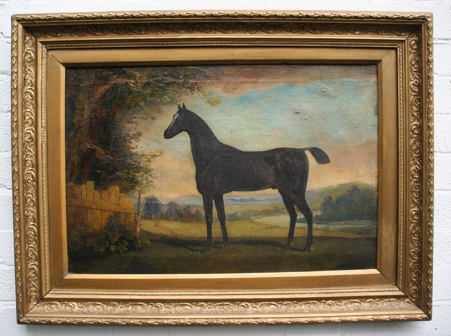 Naive Horse Portrait 19th century oil on Canvas.