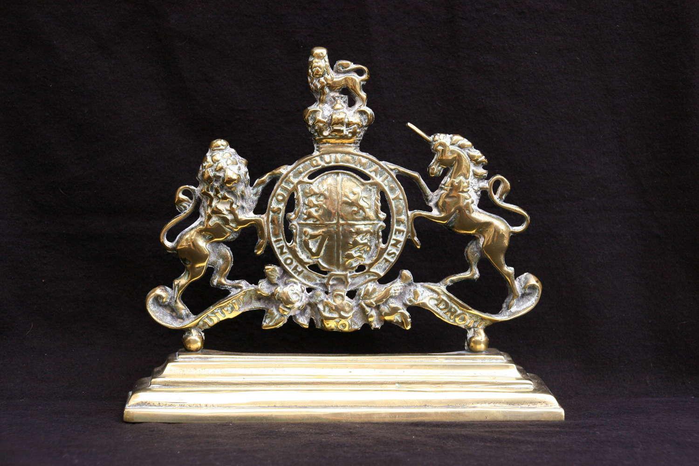 Victorian Brass Royal Armorial Door Stop / Chimney Ornament