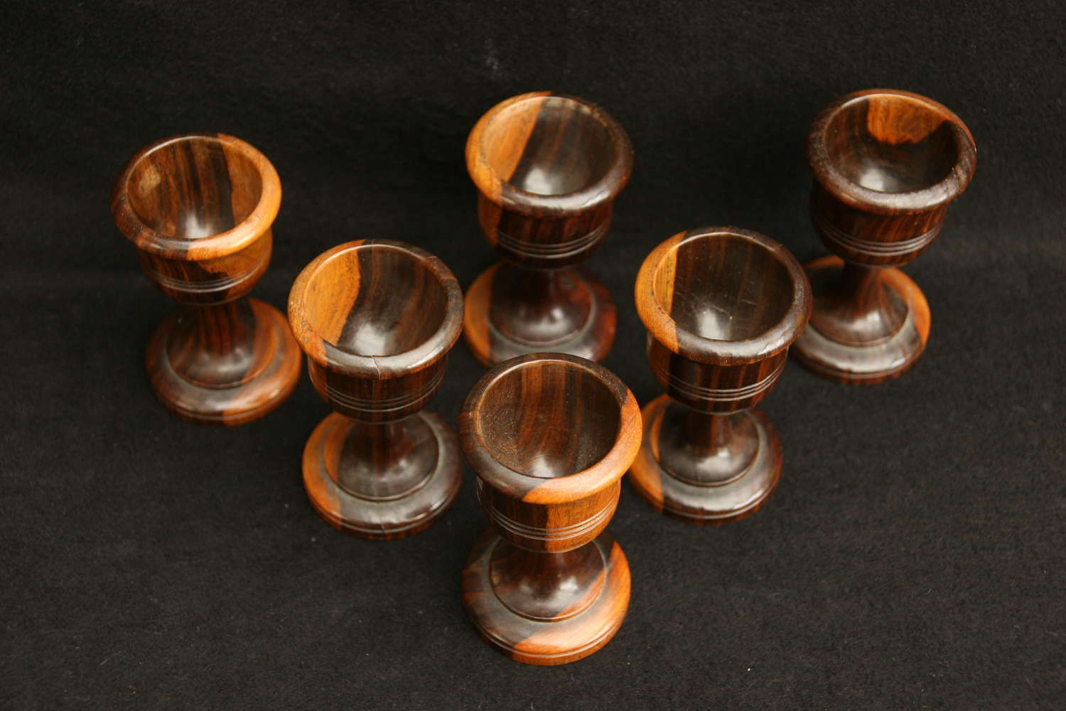 Set of 6 Treen Egg cups, Late 19th century