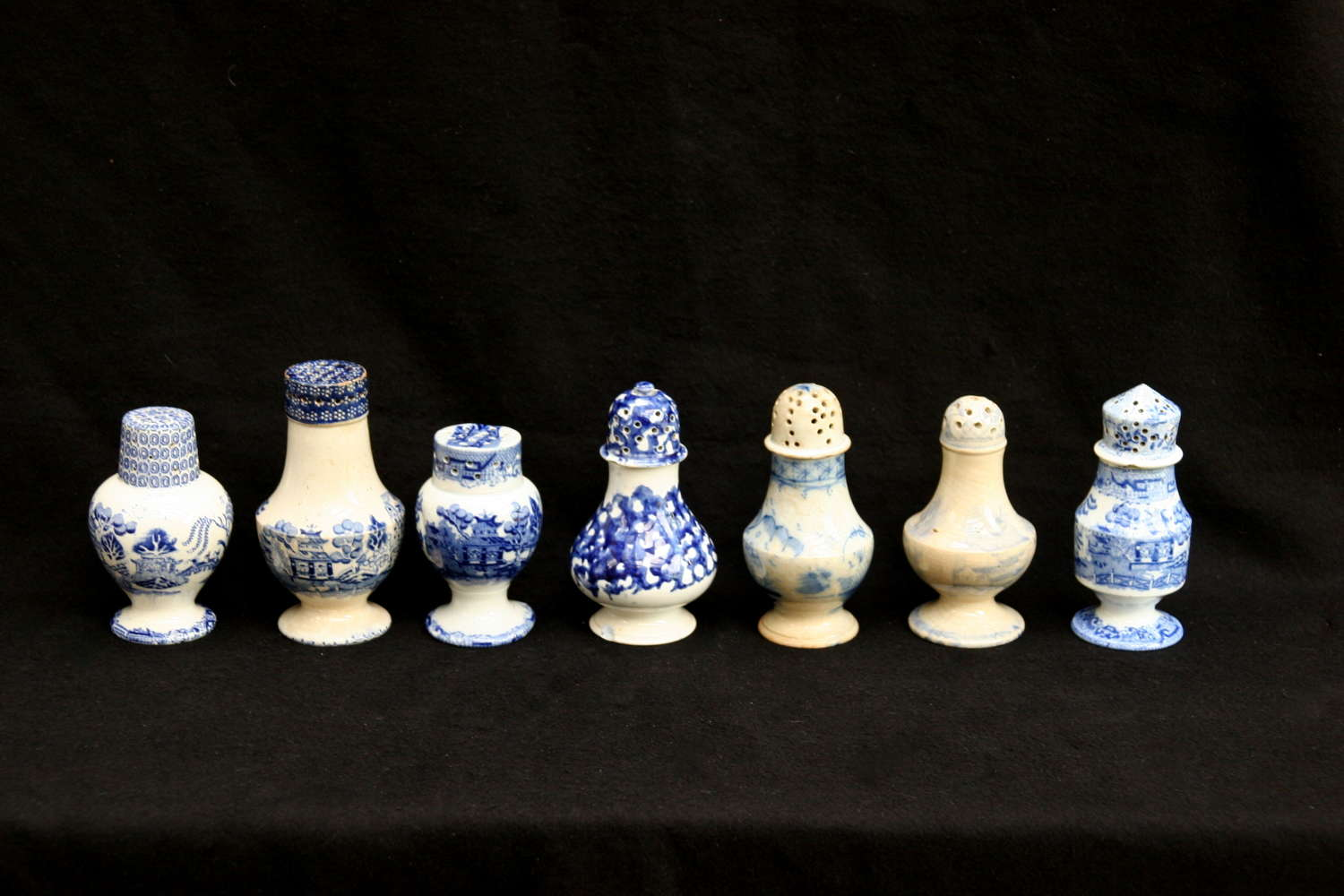 Various Blue and white English Victorian Pottery Muffineers