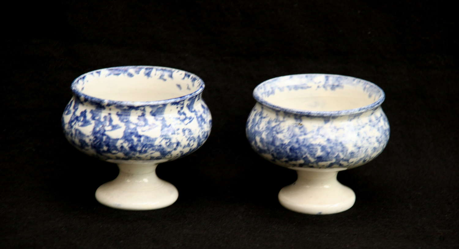 Two Blue and white English Pottery Victorian Salt Pots