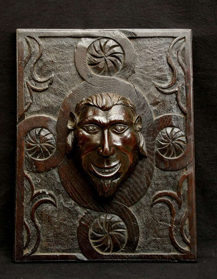 19th Century  Leprechaun Mahogany Panel