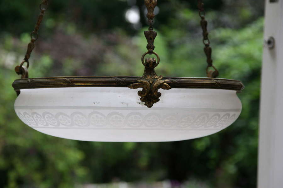 French Glass and Brass hanging lamp early 20th century