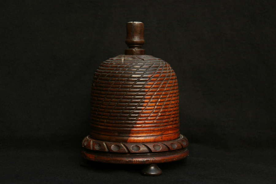 Treen Beehive form String box early 19th century