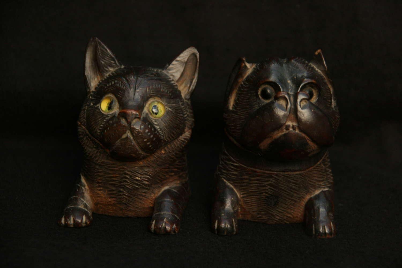 Treen cat and Dog Inkwells 19th century