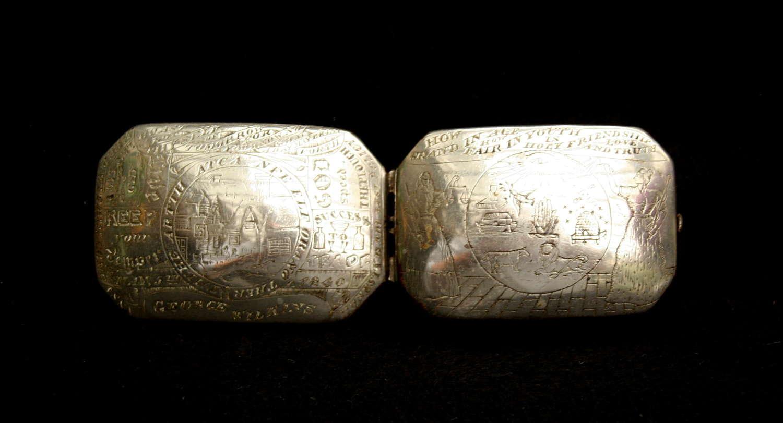 Masonic Engraved English Steel Snuff Box 1840